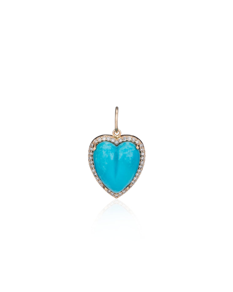 Gold Diamond and Turquoise Chubby Heart Charm