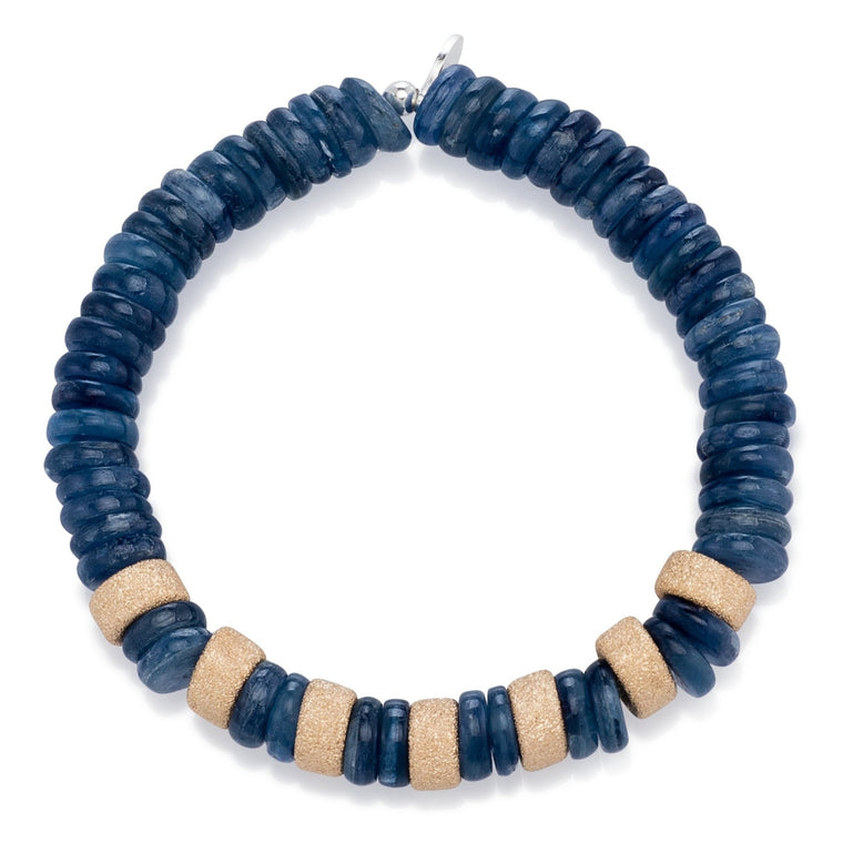 Kyanite and Multi Gold Dust Beaded Bracelet