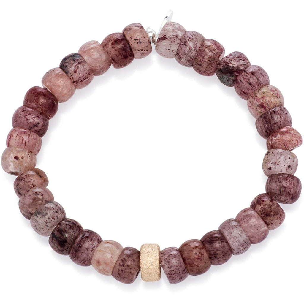 Strawberry Quartz and Single Gold Dust Beaded Bracelet