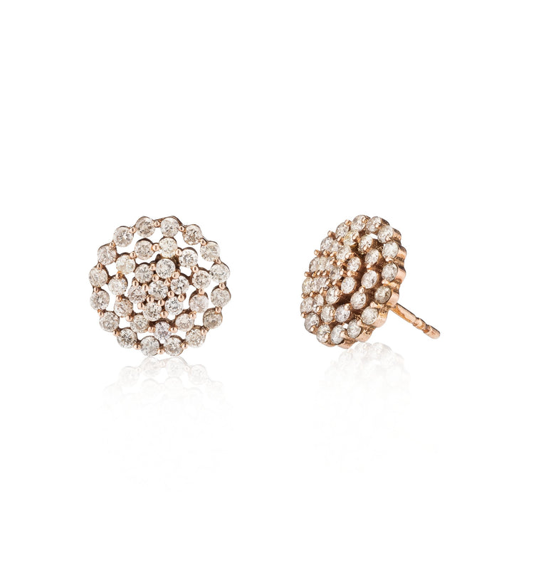 Rose Gold and Diamond Cluster Stud Earrings