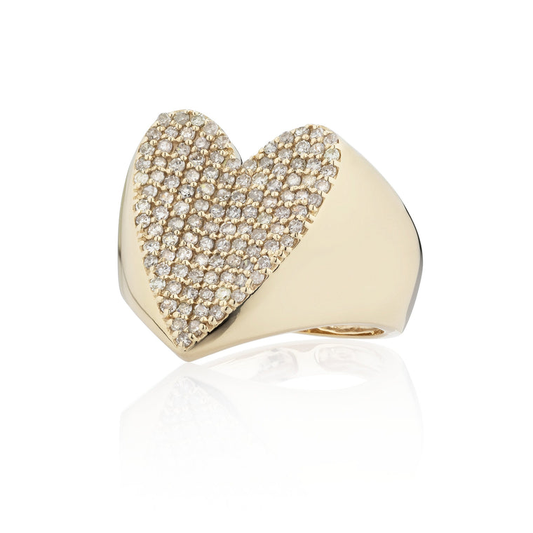 Yellow Gold and Diamond Jumbo Heart Signet Ring