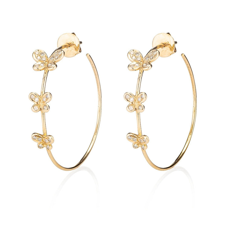 Yellow Gold and Diamond Butterfly Hoops
