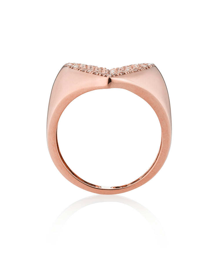 Rose Gold and Diamond Jumbo Heart Signet Ring