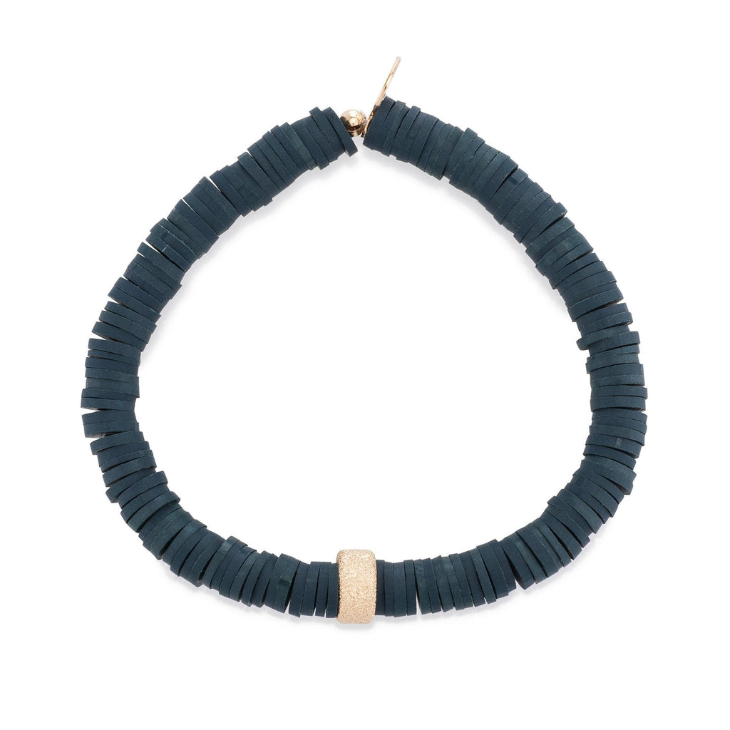 Navy Vinyl & Single Gold Filled Bead Bracelet