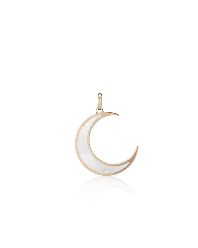 Yellow Gold and Mother of Pearl Moon Charm