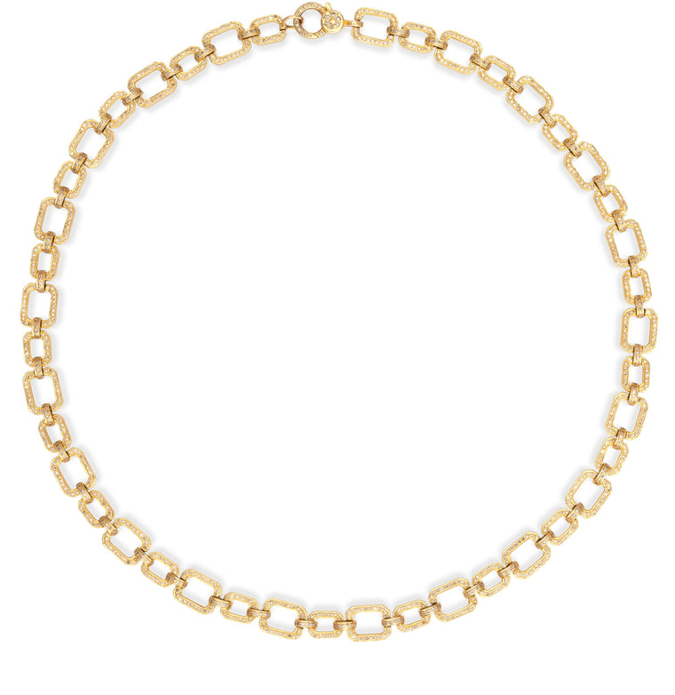 Yellow Gold Diamond Square Chain Necklace