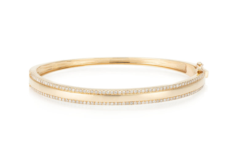 Yellow Gold and Diamond High Polished Double Row Bracelet