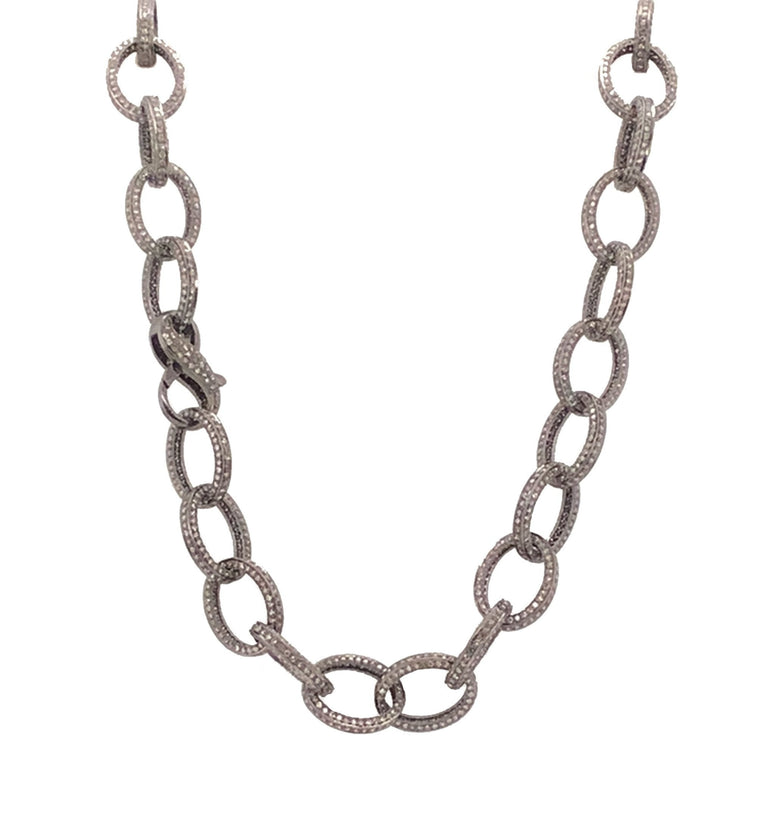Black Rhodium and Full Pave Diamond Jumbo Link Chain Necklace