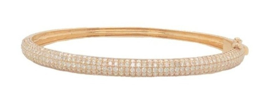 Yellow Gold and Diamond Curved Cuff Bracelet