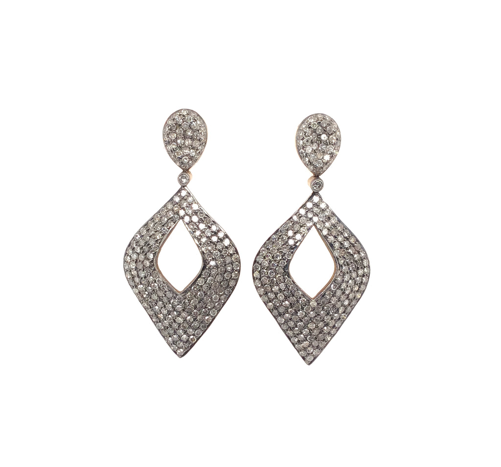 Black Rhodium Diamond Drop Earring