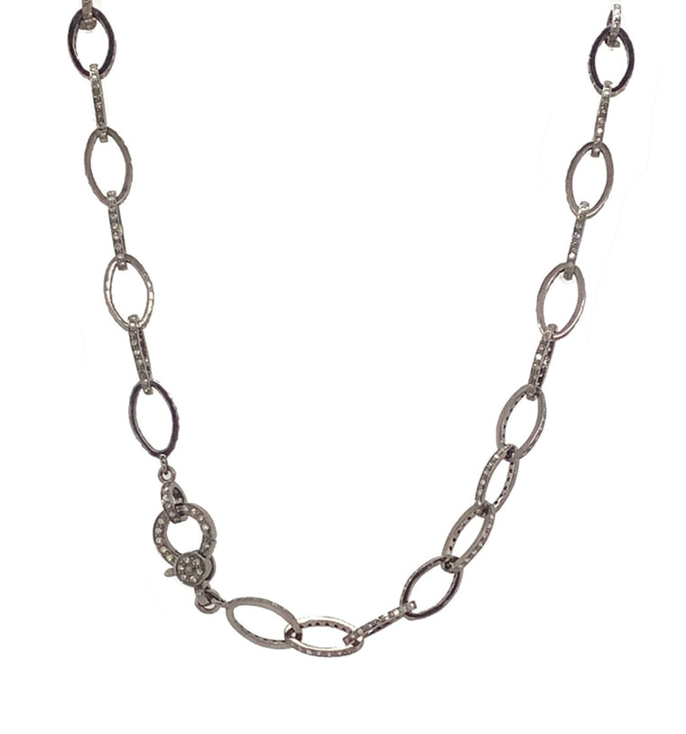 Black Rhodium and Diamond Oval Link Necklace