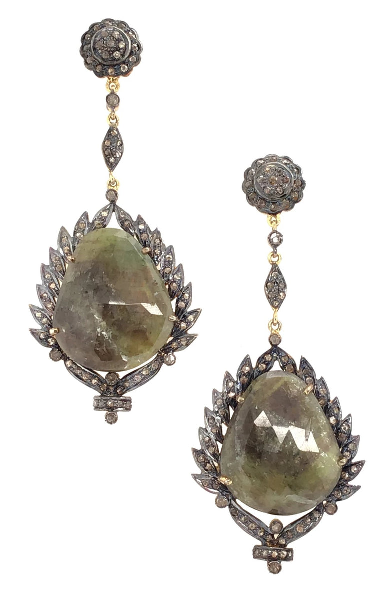 Two Tone Labdradorite and Diamond Chandelier Earrings