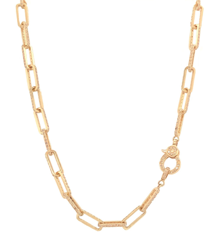 Yellow Gold and Diamond Chain Link Necklace