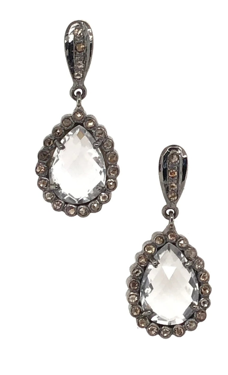 BLACK RHODIUM DIAMOND & CLEAR CRYSTAL PEAR DROP EARRING