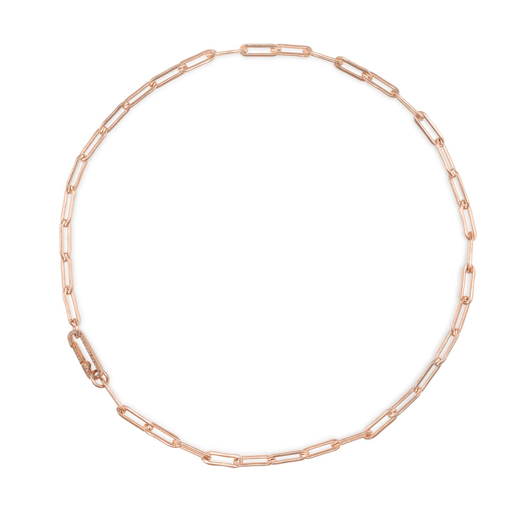 Rose Gold Filled Chain and Diamond Paperclip Clasp Necklace