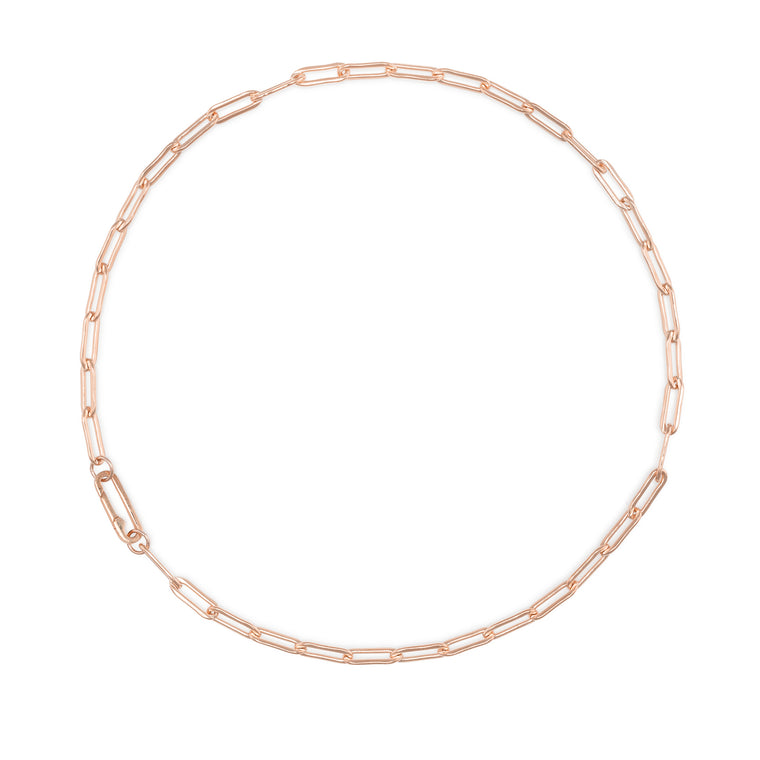 Rose Gold Filled Chain Paperclip Clasp Necklace