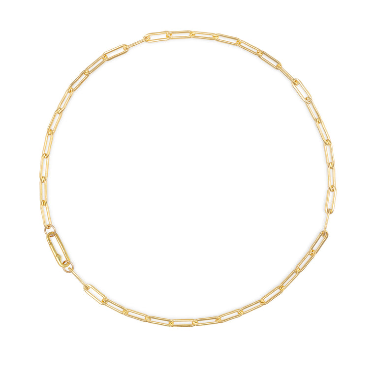 Yellow Gold Filled Chain Paperclip Clasp Necklace