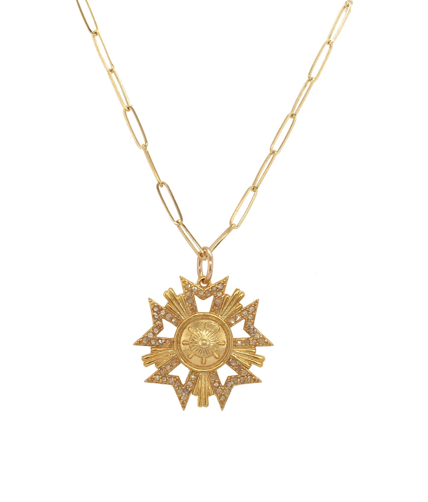 Gold Vermeil and Diamond Metal Pendant