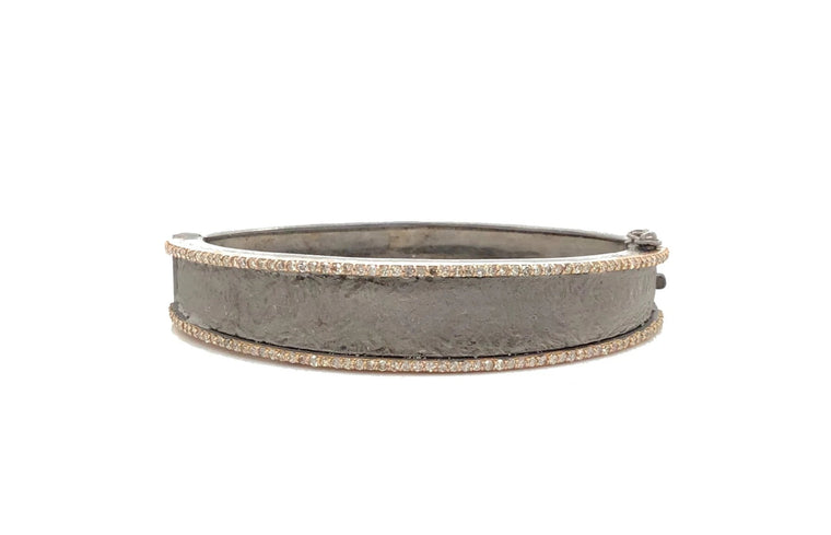 Two Tone Diamond Hammered Cuff Bracelet