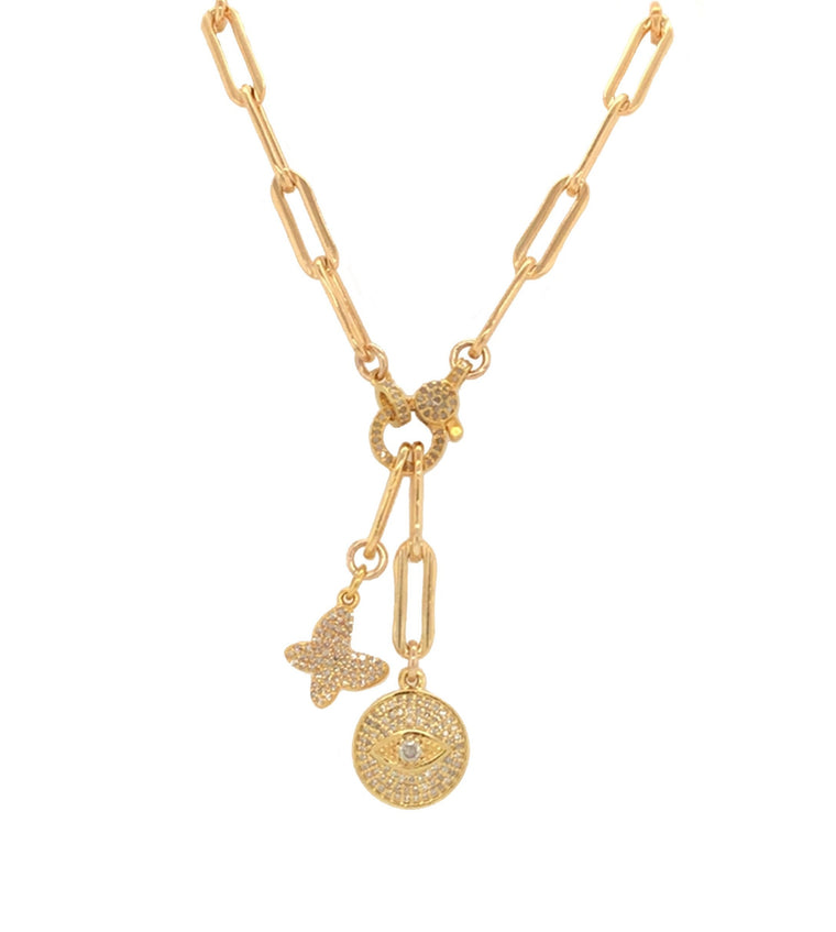 Yellow Gold Filled Chain with Diamond Butterfly and Eye Short Pendant Necklace