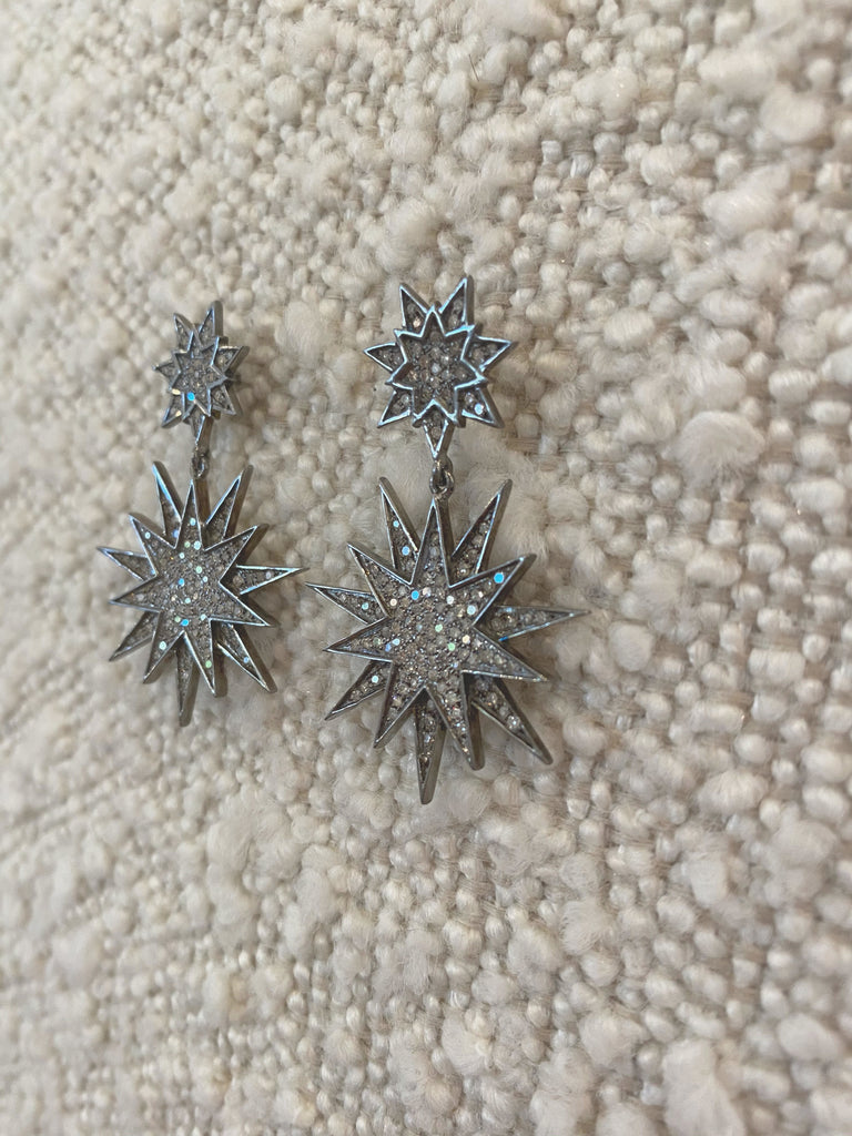 Black Rhodium & Diamond Shinning Star Earrings