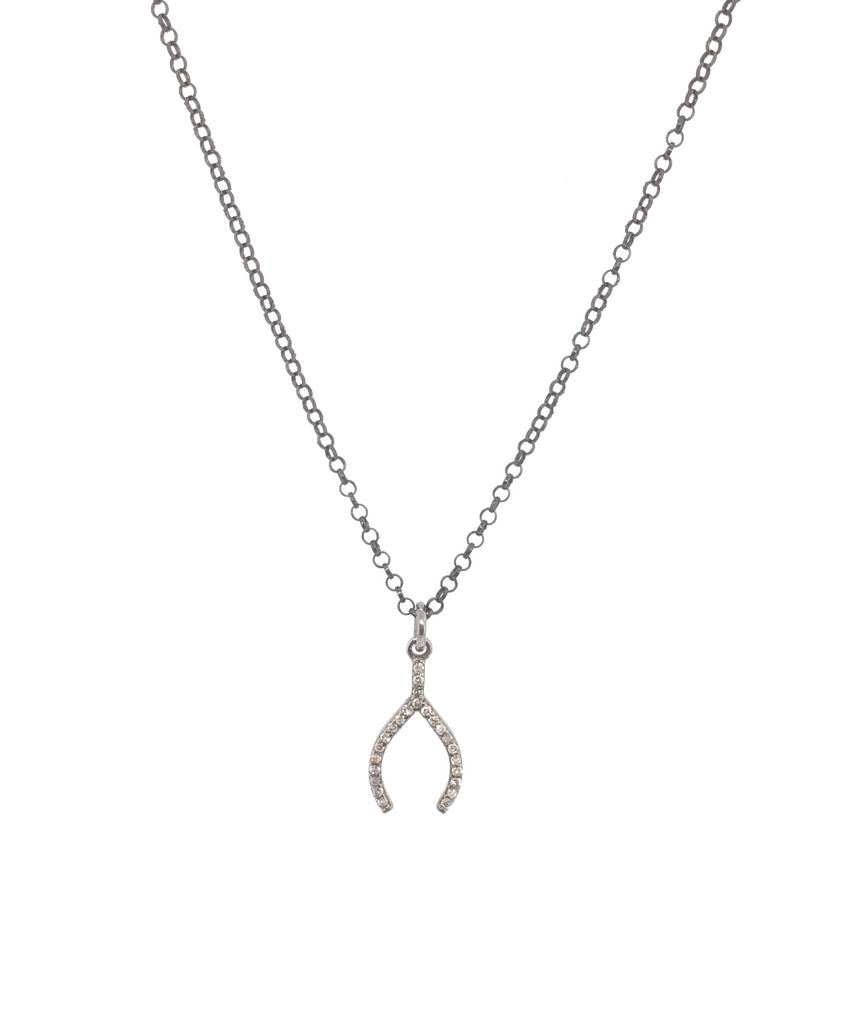 Black Rhodium Diamond Wishbone Pendant