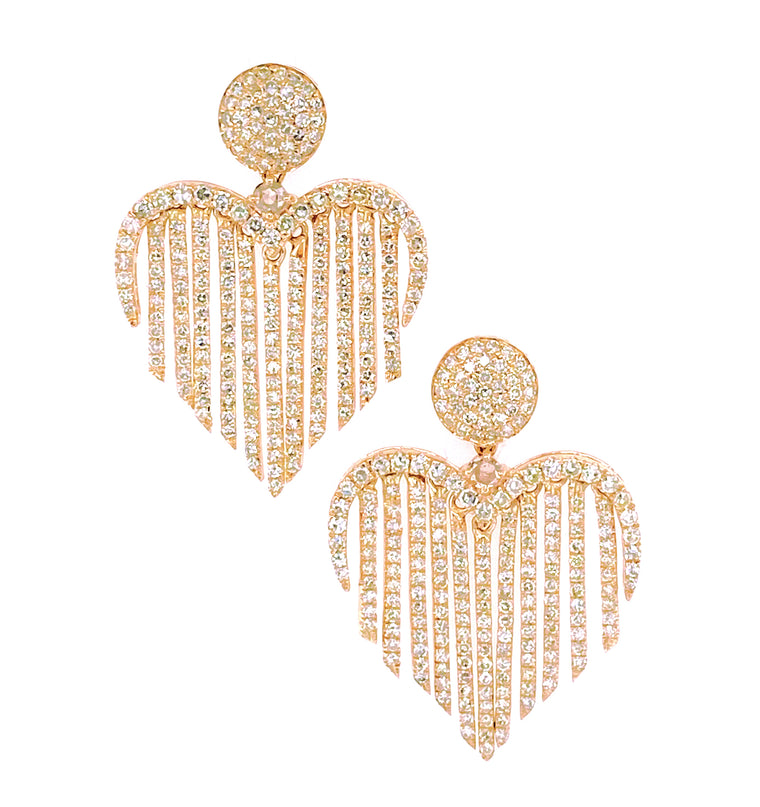 Yellow Gold and Diamond Fringe Heart Earrings