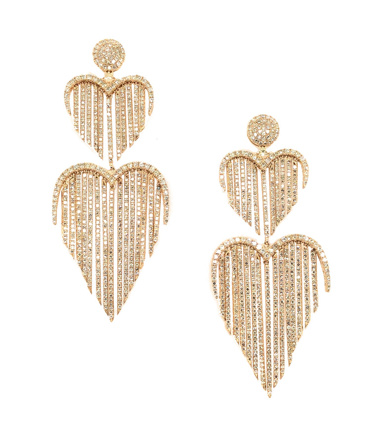Yellow Gold and Diamond Double Heart Fringe Earrings