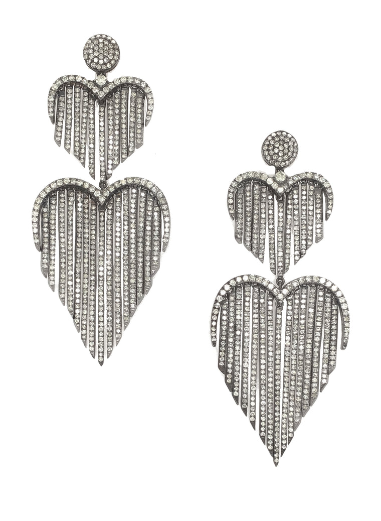 Black Rhodium & Diamond Fringe Double Heart Earrings