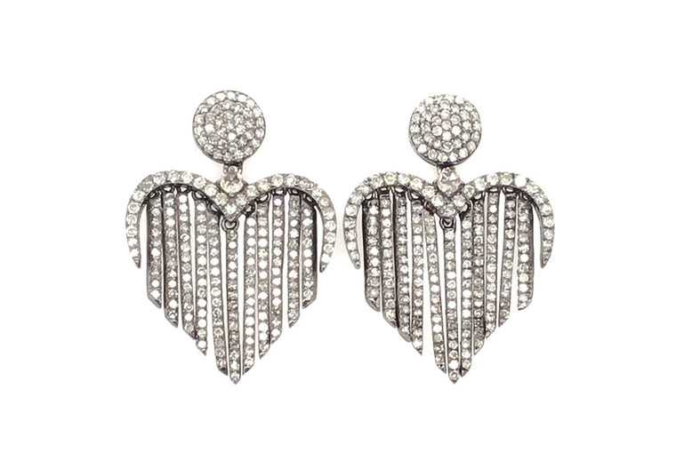 Black Rhodium & Diamond Fringe Heart Earrings