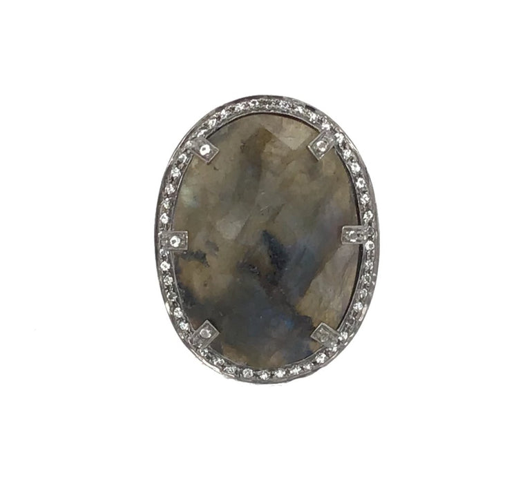 BLACK RHODIUM & LABRADORITE COCKTAIL RING