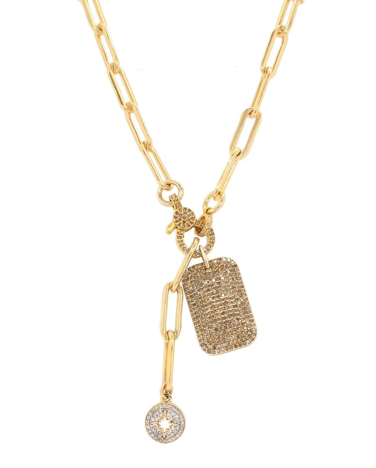 Gold Diamond Dog Tag and Sunburst Chain Pendant Short Necklace