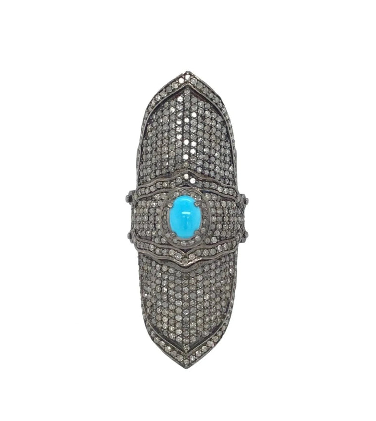 BLACK RHODIUM & DIAMOND TURQUOISE KNUCKLE RING