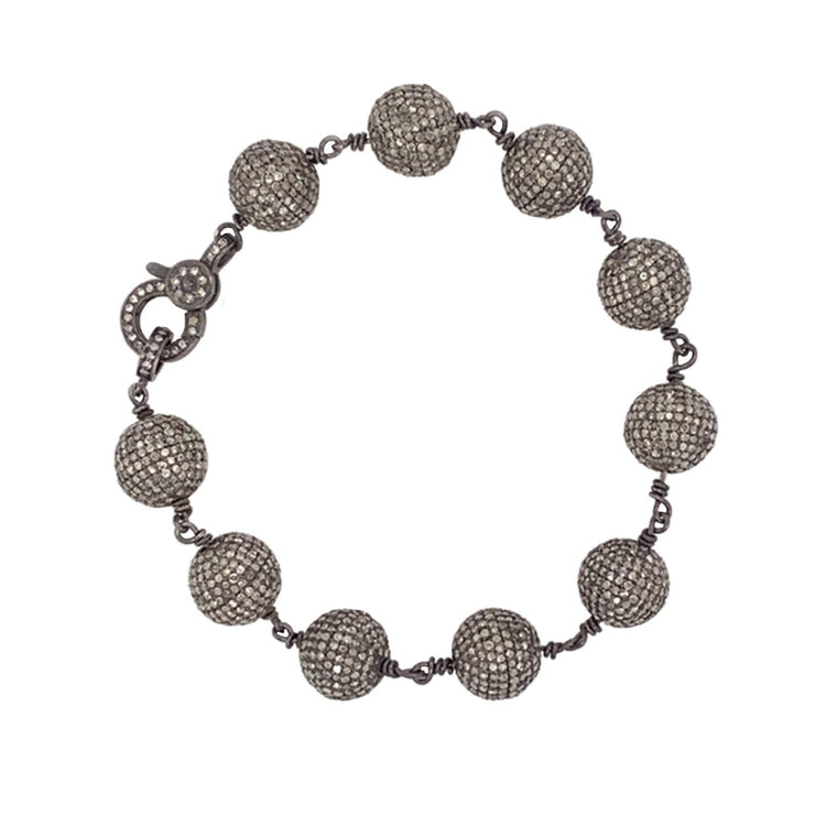 Black Rhodium and Diamond Ball Bracelet