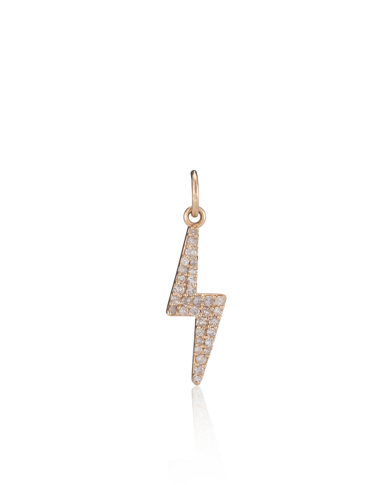 Yellow Gold Diamond Lightning Bolt Charm