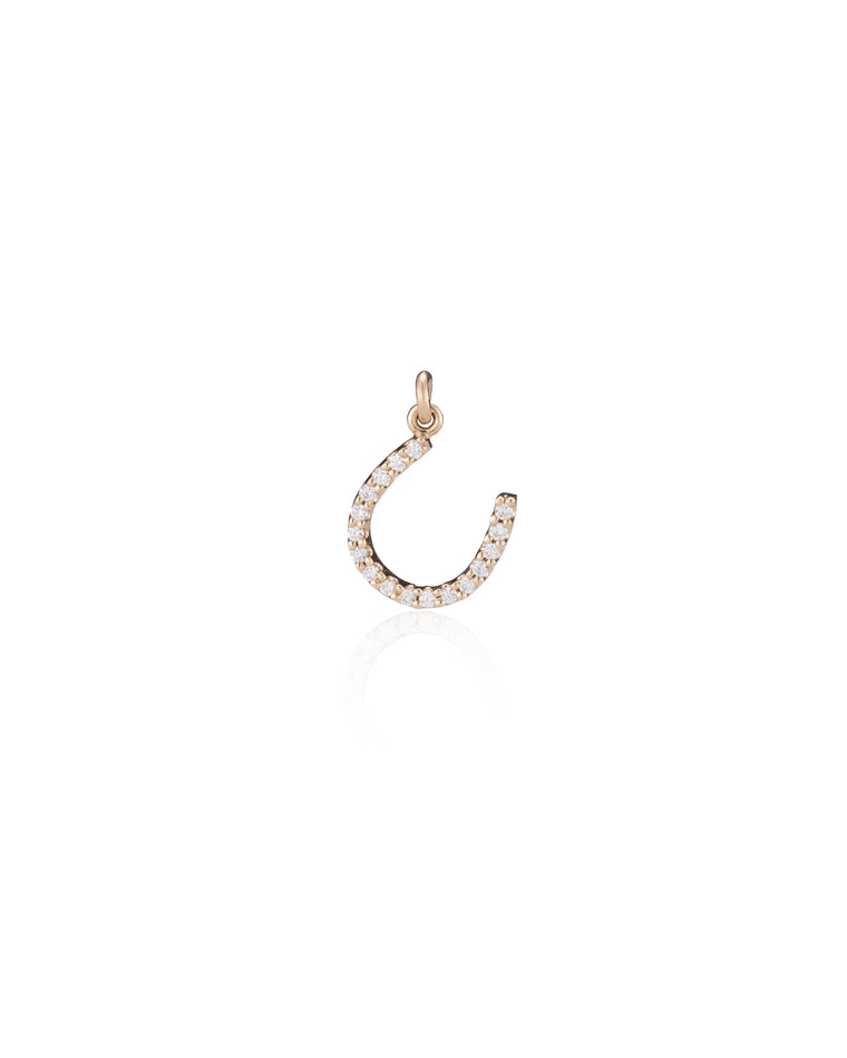 YELLOW GOLD DIAMOND LUCKY HORSESHOE CHARM