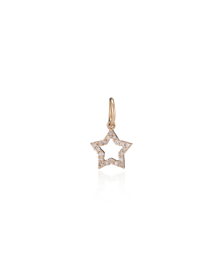 Yellow Gold Diamond Open Star Charm