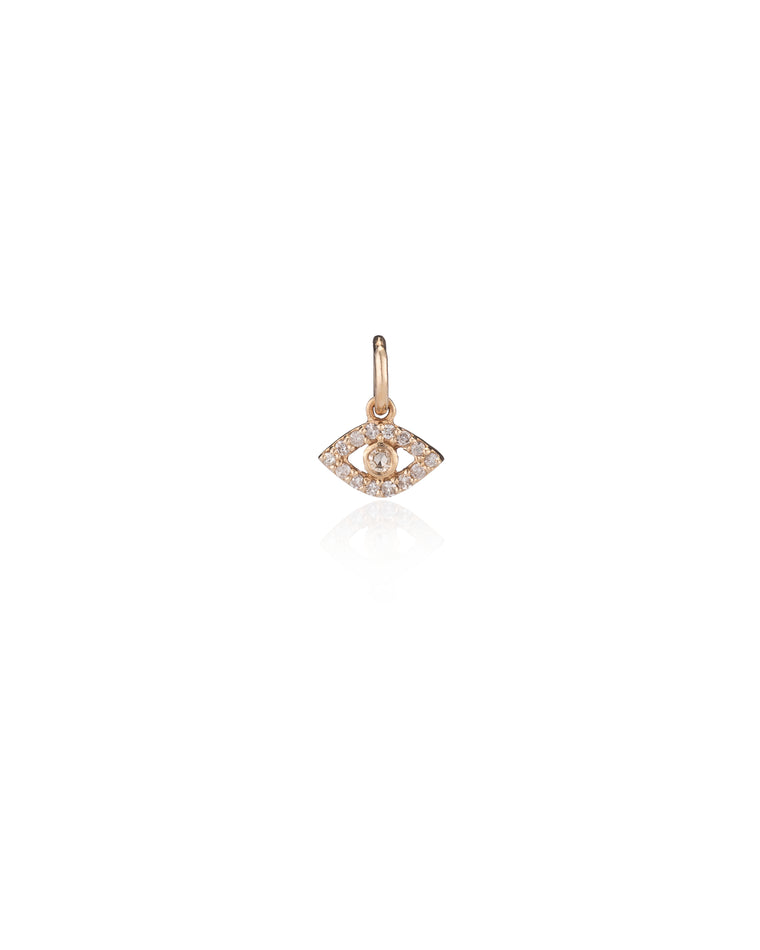 Yellow Gold and Diamond Itsy Evil Eye Charm