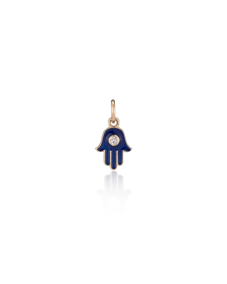 Yellow Gold Varsity Navy Enamel Diamond Hamsa Charm