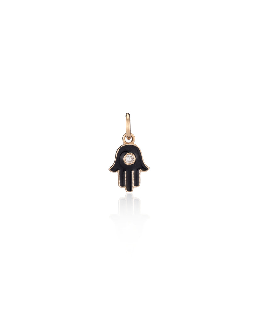 YELLOW GOLD INK BLACK ENAMEL DIAMOND HAMSA CHARM