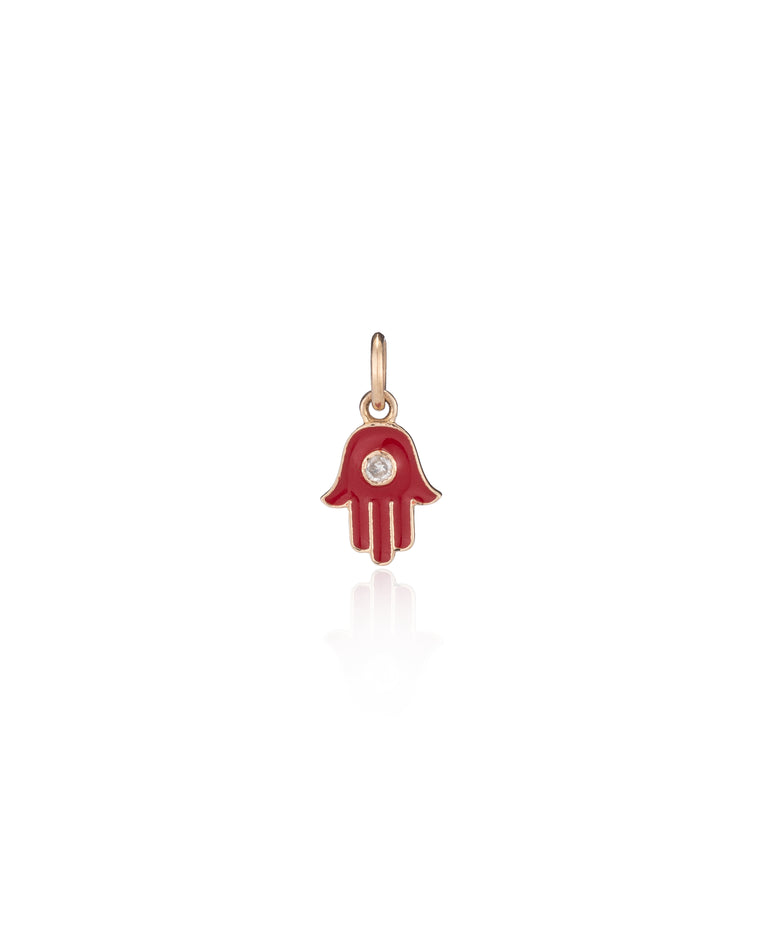 YELLOW GOLD CANDY RED ENAMEL DIAMOND HAMSA CHARM
