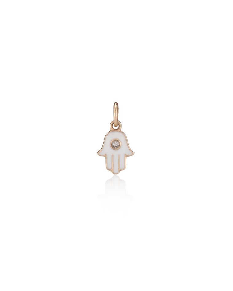 Yellow Gold White Enamel Diamond Hamsa Charm