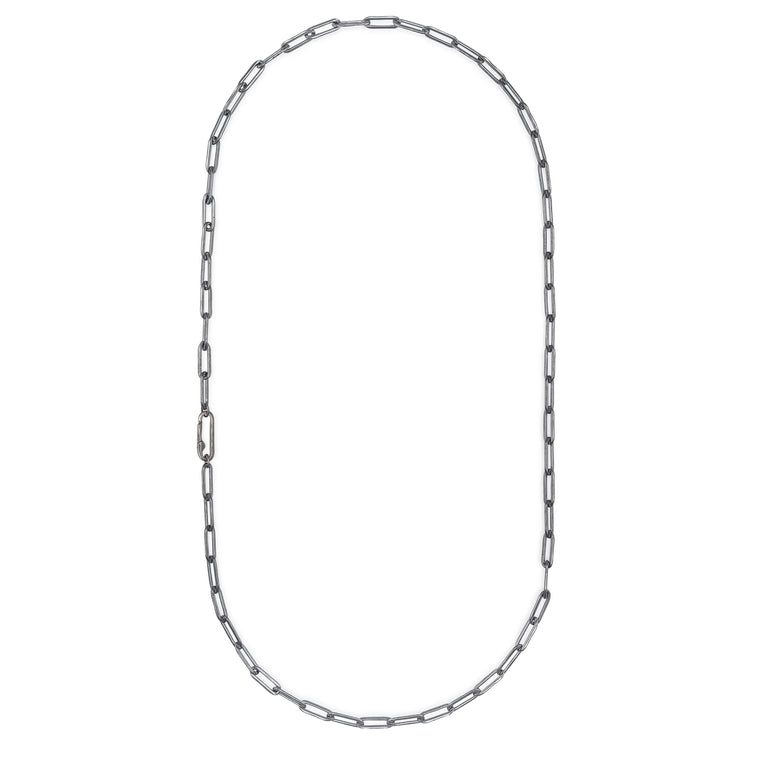 Black Rhodium Chain Paperclip Clasp Necklace