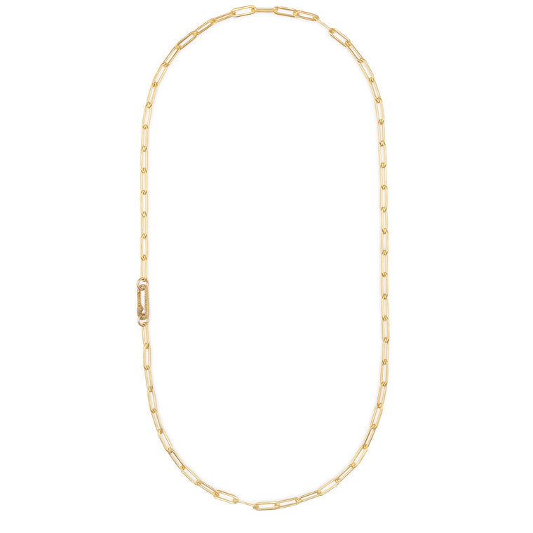 Yellow Gold Filled Chain and Diamond Paperclip Clasp Necklace