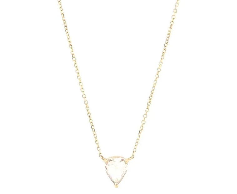 Yellow Gold Three Prong Pear Shaped Rose Cut Diamond Pendant