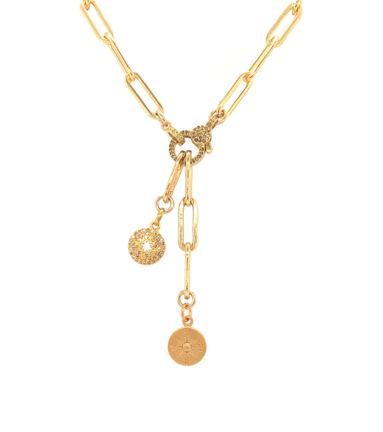 Yellow Gold Filled Chain with Diamond Sunburst and Compass Short Pendant Necklace