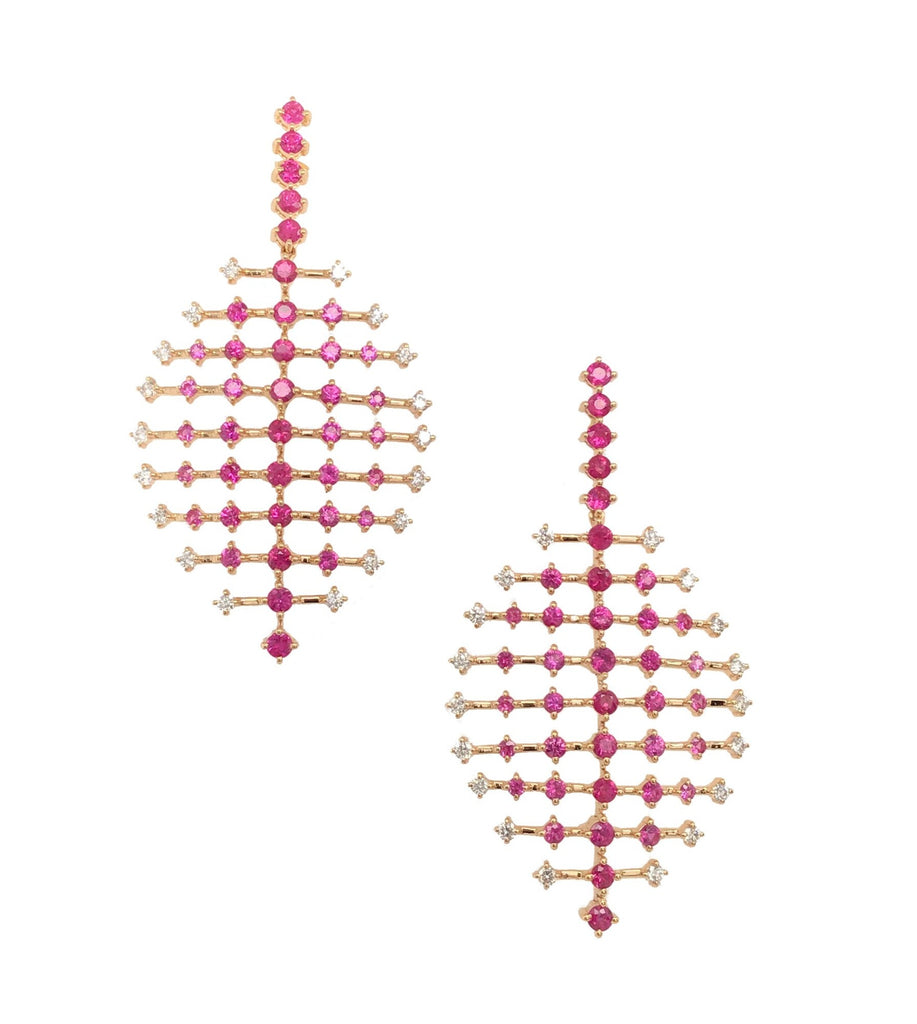Yellow Gold Ruby and Diamond Ripple Earrings