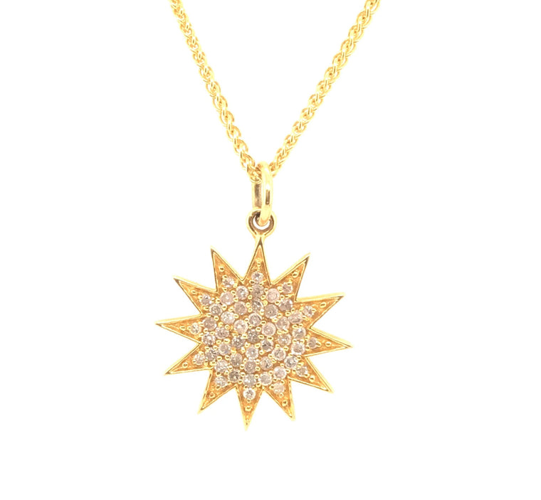 Yellow Gold and Diamond Sun Pendant Necklace