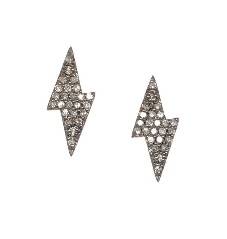 Black Rhodium Diamond Lightning Bolt Stud Earrings