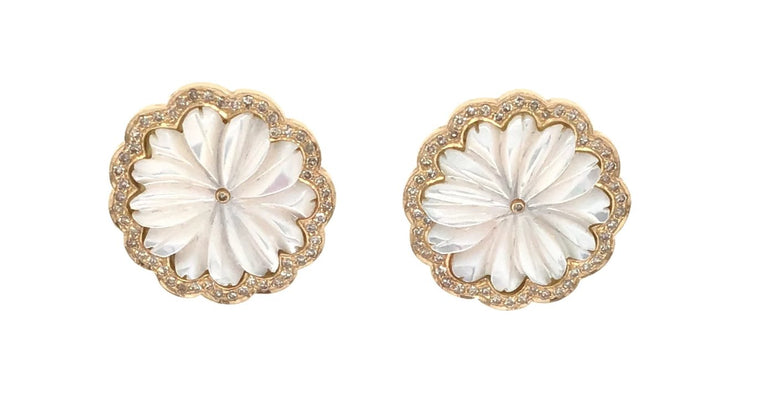 Yellow Gold and Diamond Pearl Studs Earrings